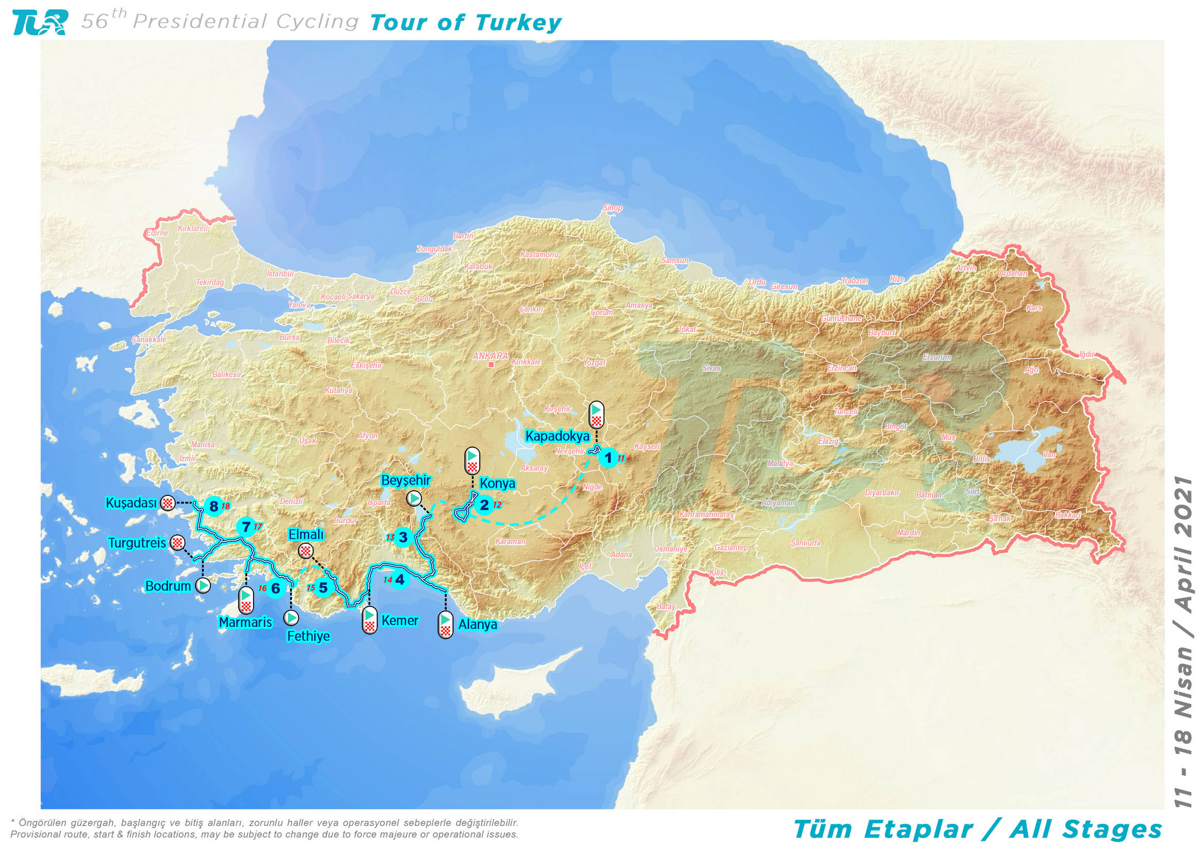 Presidential Cycling Tour of Turkey Map